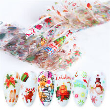 10Pcs/Set Christmas Nail Foils Colorful Foil Nail Art Transfer Stickers Decal
