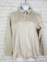 Weatherproof Womens Shirt Size XL Beige Long Sleeve Pockets Button Up Blouse Top