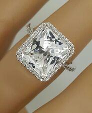 14K WHITE GOLD ROUND DIAMOND & SQUARE WHITE TOPAZ GEMSTONE LADIES HANDMADE RING