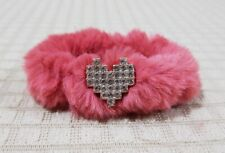 FURRY PONYTAIL HOLDER OLD ROSE WITH HEART CHARM HAIR ACCESSORY