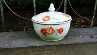 Vintage Hall China Orange Poppy Radiance Drip Jar Grease Bowl with Lid RARE