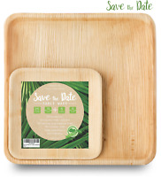"""10'' Square Palm Leaf Plates 3x30 Pack (10"""" 25+6"""" 5) Bamboo Disposable HeavyDuty"""