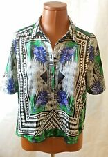 River Island Cropped short sleeve Blouse Size 6 Abract print green Blue HT