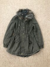 River Island Khaki Parka Hooded Coat With Fur Collar In Size UK 8