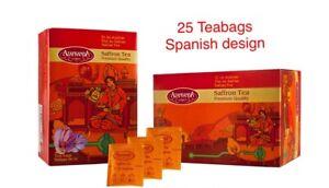 SAFFRON TEA BAGS PREMIUM 25pcs SPANISH  OR ENGLISH DESIGN, BUY 1 GET 1 FREE (50)