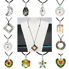 Fashion Colorful Love Heart Crystal Pendant Necklace Party Charm Jewelry Gift