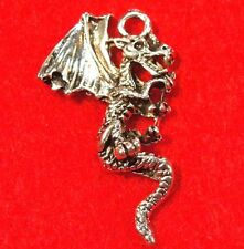50Pcs. WHOLESALE Tibetan Silver DRAGON Detailed Charms Pendants Ear Drops Q0853