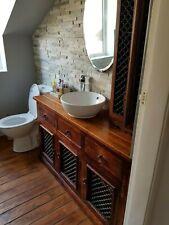 Rustic Solid Oak Cabinet Vanity Unit Large Storage