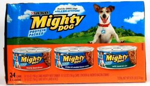 Purina Mighty Dog 8.25 Lb Protein Packed 24 Cans 3 Flavors Dog Food BB 4/2022
