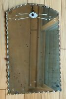 """Frameless Wall Etched Mirror Scalloped Edge Age Spots Shadows Antique 15"""" x 9"""""""