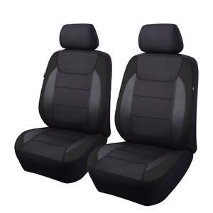 2 Car Seat Covers Universal Front Set Fit Armrest Airbag with Back Pocket Black