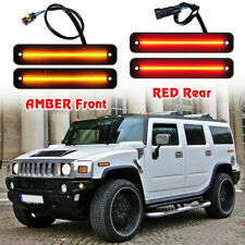 For 2003-2009 HUMMER H2 Smoked Front Rear LED Side Marker Light Kit Amber Red 4X