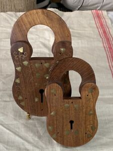 Vintage Pair of WOODEN PADLOCK Plaques with Decorative Brass Inlay