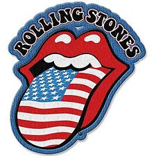Rolling Stones Stars & Stripes Tongue shaped sew-on / iron-on cloth patch   (ro)