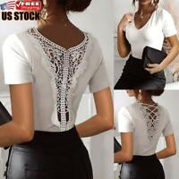 Women's V Neck Lace T-shirt Blouse Ladies Summer Short Sleeve Slim Fit Sexy Tops