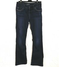 Silver Womens Size 29 x 32 Suki Jeans Bootcut Dark Wash Stretch Embroidered