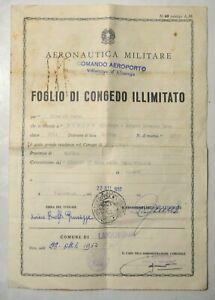 1957 AERONAUTICA MILITARE CONGEDO AVIERE COMANDO AEROPORTO VILLANOVA D'ALBENGA
