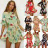 Women's Boho Floral Ruffle Frill Holiday Party Mini Dress Summer Beach Sundress