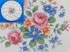 """Deviled Egg Plate White w/ Floral Design Pink Roses Blue Daisies Canonsburg 9"""""""