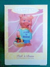 HALLMARK 1996 Pork 'n Beans PIG With BASKET EASTER ORNAMENT Easter Tree-NIB+pt