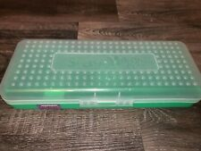 "SPACEMAKER ~ Vtg Lime Green Sheer Long Hard Pencil Carrying Box 13"" x 2.5"" x 5"""