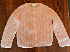 Pink Lana Mohair Wool Blend Cardigan Youth Girls Knit Sweater Made In Italy Sz M