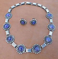 ANTIQUE VTG STERLING SILVER AMETHYST CABOCHON NECKLACE EARRING SET ~ MEXICO