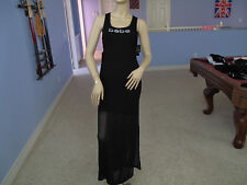 Bebe BLK Stretch Mesh Rhinestone Logo Maxi Dress NWT$89~S~Only One~
