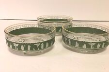 Jeanette Wedgwood Greek Hellenic Set of 3 Green Small Glass Bowls  4""