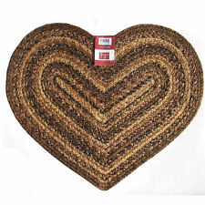 "IHF Home Decor Cappuccino Design Braided Area Rug Jute Heart Shaped 20"" x 30"""