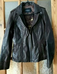 """Brown Real Leather Biker Style Jacket Chest Size: 38"""""""