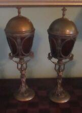 """Pair Antique Art Nouveau Lamps Gilt Patinated Bronze? Amber Glass Panels 21"""""""