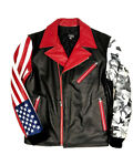Jakewood Men's Multi-Color Patriotic/Camouflage Motorcycle Biker Jacket, Size L
