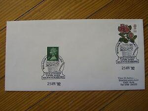 Shakespeare Birthday, Rosa Silver Jubilee 22p/QE 2p-Postmarked Stratford, 1992