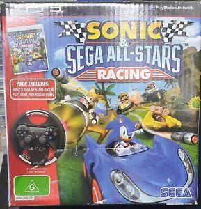 Sonic & Sega All Stars Racing PS3 game plus racing wheel in original box