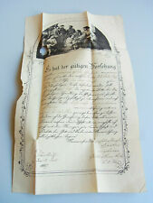 Taufbrief / Gevatterbrief DÄNKRITZ (Neukirchen/Pleiße) 1867 // Gottlieb H. Floß