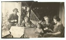 Vintage Photo Cute Baby KEWPIE DOLL Ladies TEA TIME Hammock GORGEOUS PIC!