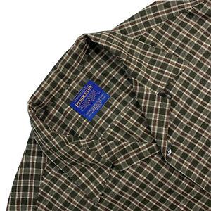 VTG L Pendleton Board Shirt Green / Burgundy Mini Plaid Button Down