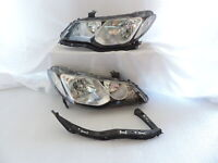 Black Housing Clear Lens DEPO Headlight Set +Bracket for 2006-11 JDM Honda Civic
