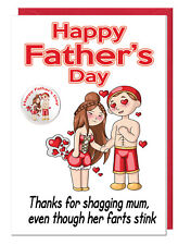 Funny Rude Joke Dad Stepdad Fathers Day Card & Badge - Thanks For Shagging Mum