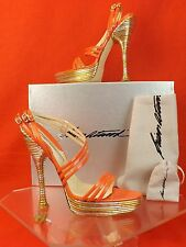 NIB BRIAN ATWOOD RENE CORAL PATENT LEATHER PIPED PLATFORM SANDALS PUMPS 39.5 $1K