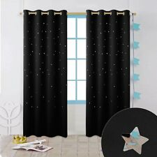 PONYDANCE Night Sleep Cut Out Decor Twinkle Star Blackout Curtains for Boys...