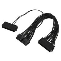 1X(ATX Mining 30cm 24 Pin Dual PSU Power Supply Extension Cable for Comput K9O3