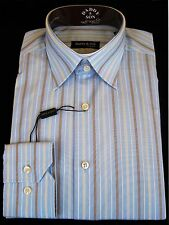 """Shirt - Dress - Men's - 15"""" neck - Italian - Blue Striped - Imported From Italy"""