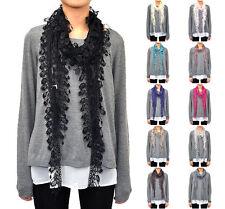 12 PCs Wholesale Women's Fishnet Fringe Lace Scarf Embroidery Tassel Polka Dot