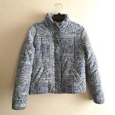 Billabong Large COAT Puffer Jacket $120 Blue Ivory Cotton Jericho
