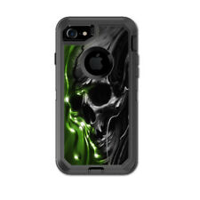 Skin Decal for Otterbox Defender iPhone 7 Case / Dark Skull, Skeleton Neon Green