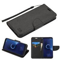 ALCATEL Revvl 2 T-Mobile Leather Flip Wallet Protective Case Cover Pouch BLACK