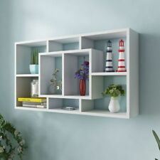 vidaXL Floating Wall Display Shelf 8 Compartments White Hanging Storage Rack