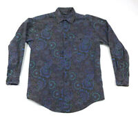 VTG Nuovo Paisley Floral Abstract L/S Cotton Shirt Psychedelic Hippie Men's M-L